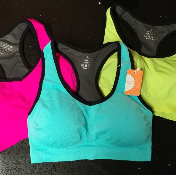 528b123feaa 3 new neon sports bras Large pink blue yellow